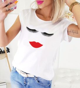 Koszulka damska RZĘSY USTA