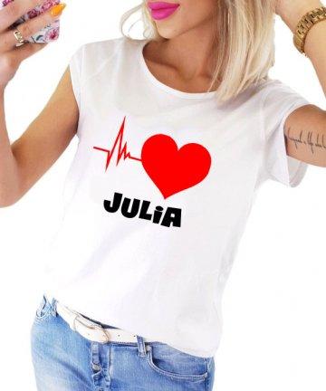 Koszulka damska Puls Serca z imieniem
