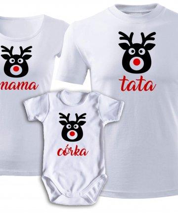 Zestaw koszulek Świątecznych MAMA TATA CÓRKA - RENIFERY