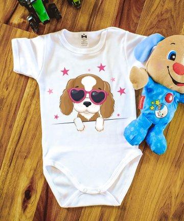 Body niemowlęce PIESEK W OKULARACH, body z pieskiem