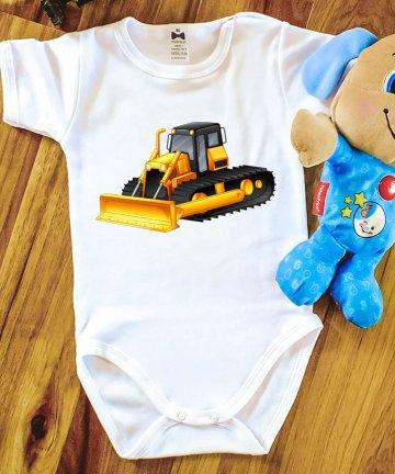Body niemowlęce SPYCHACZ, pojazdy budowlane, nadruki