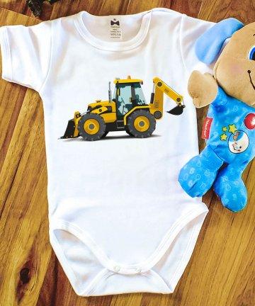 Body niemowlęce KOPARKA, body z nadrukiem, pojazdy budowlane