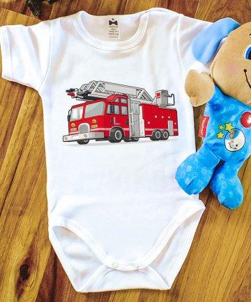 Body niemowlęce WÓZ STRAŻACKI, body z nadrukiem, pojazdy
