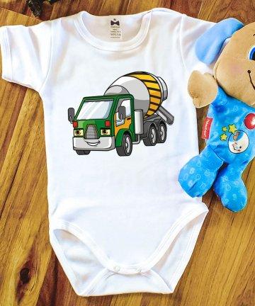 Body niemowlęce BETONIARKA, body z nadrukiem, pojazdy budowlane