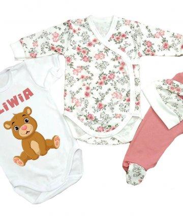 Wyprawka niemowlęca dla dziewczynki + body z imieniem W17